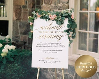 Faux Gold Unplugged Wedding Sign, Unplugged Ceremony Sign, Unplugged Wedding, Unplugged Sign, Gold Sign, PDF Instant Download #BPB324_35