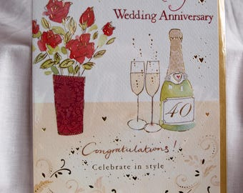 To Wonderful Parents On Your Ruby Wedding Anniversary Card