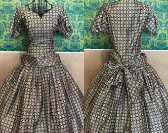 Vintage 1950s Dress - Miss Elliette New Look Drop Waist Dress - S