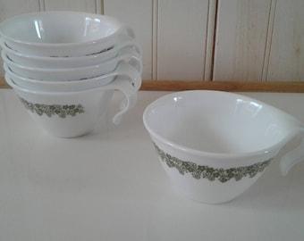 Set of Six (6) Corelle by Corning Livingware Spring Blossom Flat-Bottom Hook Cups
