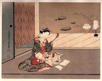 "1906, Japanese antique woodblock print, Miyagawa Shunsui, ""美人弾弦図"", from Ukiyoe-ha-gashu."