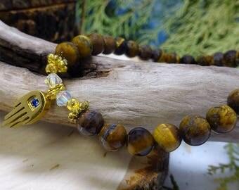 Amber Magnesite Beaded Bracelet with Hamsa Charm