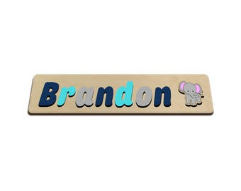 Jungle Friends Personalized Wooden Name Puzzle With Elephant A Elephant Blues & Grey Personalized Gift for Boy 572317188