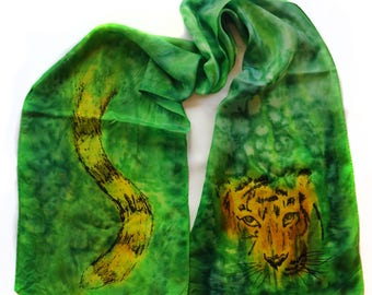 Tiger Scarf - Hand Painted Silk
