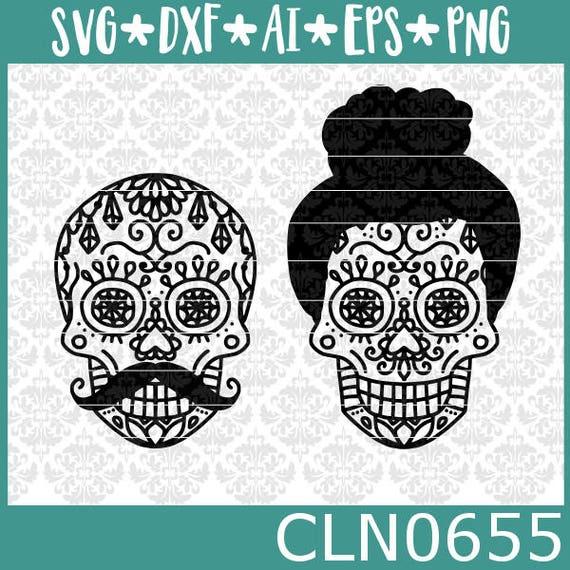 CLN0655 Halloween His & Hers Sugar Skull Dia De Los Muertos SVG DXF Ai Eps PNG Vector Instant Download Commercial Cut File Cricut Silhouette