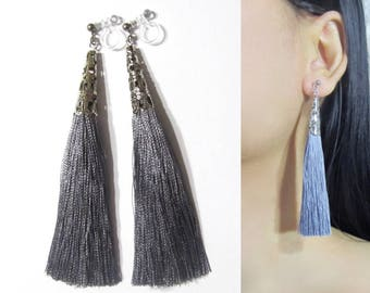 Dark Charcoal Gray Tassel Clip-On Earrings |35C| Long Dangle Clip Earrings, wedding bridal boho clip on Earrings, silver filigree clip-ons