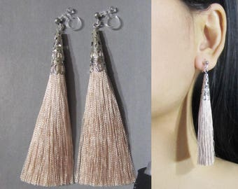 Sand Beige Tassel Clip-On Earrings |35E| Long Dangle Clip Earring, Silver Filigree Clip-ons, Boho Statement Bridal Non Pierced Clip Earrings