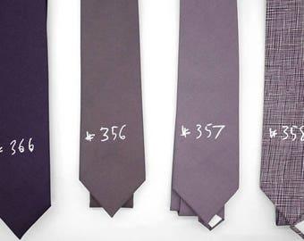 matte cotton muted purple ties,shade purple grey,dusty plum lilac,rhapsody,mulberry,subtle neck ties,groomsmen,men,mauve purple wedding tie