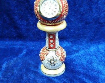White Green/Red Watch/  Marquetry  Handmade handicraft Inlay work with semiprecious stone/pietra dura approx