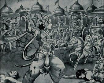Poster, Many Sizes Available; Abhimanyu Battling Alone In The Chakravyuha
