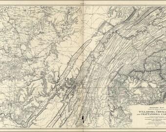 Battle Chickamauga Etsy - Battle of chickamauga map