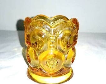 Amber Glass Toothpick Holder,L E Smith,Moon and Stars,Amber Glass,Vintage Glass,Toothpick Holder,L E Smith Toothpick Holder,1950s