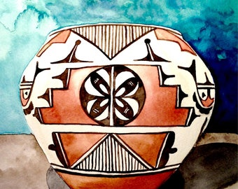 "Native pottety, Native American pottery, original watercolor, 8x10"""