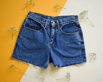 Vintage Denim Shorts, High Waist Cut-Off Shorts Medium, 90s Blue Lee Denim Shorts, Festival Clothing