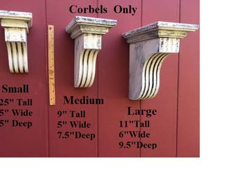 Corbels Architectural Mini, Small, Medium, Large distressed/roman grecian styling/wooden corbels/made to order/hundreds of colors
