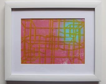 Pink Building Structure Linocut Original Print - Framed
