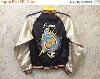 Birthday Sale Vintage Embroidered Sukajan Varsity Jacket, Yakuza, Hip Hop, Japan, Dragon Jacket, Size M Rare