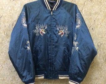 Birthday Sale Vintage Embroidered Japanese Souvenirs Sukajan Varsity Jacket, Japan Maps, Geisha Design, Satin, Size L Rare 001