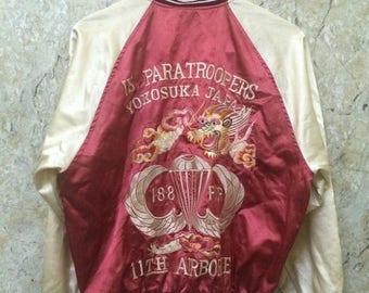 Birthday Sale Vintage Embroidered Souvenir Japanese Sukajan Jacket Military Design, US Paratroopers Yokosuka Japan Size L