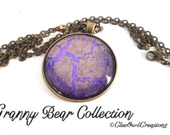 "Handmade Necklace - 1.5"" diameter - Pink, Purple & Gold Swirl in Bronze-Tone Setting"