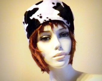 "Two-tone, black and cow ""Nordie"" toque Hat"