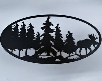 MOOSE landscape metal art oval. Powder coated for indoors and outdoors. Great for anywhere in the house or man cave.