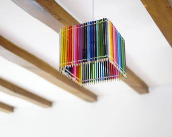 Coloring pencils square pendant