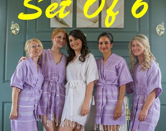Set Of 6 bridesmaid robes,wedding party robes,bridal party shower robes