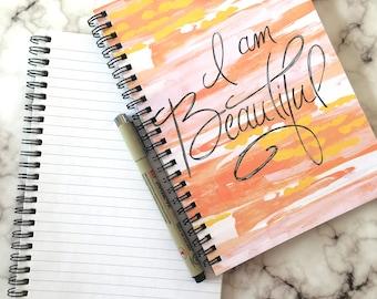 Positive inspiration, Spiral notebook, gratitude journal, self care self love, positive body image, journaling, bullet journal gift for teen