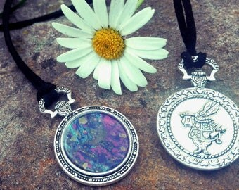 Necklace, Alice on wonderland, with hand-painted drawing.