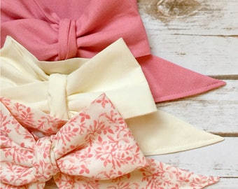 Gorgeous Wrap Trio (3 Gorgeous Wraps)-Vintage Pink, Ivory & Marseille Gardens Gorgeous Wraps; headwraps; fabric head wraps