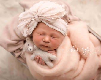 BLUSH SPARKLE Ruffle Knot Wrap- headwrap; fabric head wrap; ruffle head wrap; newborn headband; baby headband; toddler headband; baby bow