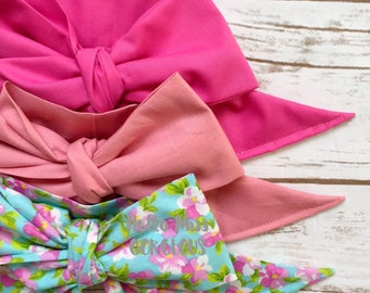 Gorgeous Wrap Trio (3 Gorgeous Wraps)-Pink Taffy, Vintage Pink & Watercolor Floral Gorgeous Wraps; headwraps; fabric head wraps