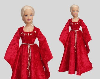 Barbie clothes - Medieval Barbie gown – handmade