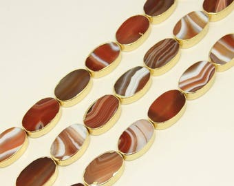 20x30mm Red Banded Agate Flat Oval Beads Spacers Making Bracelet Jewelry,11pcs/str Striped Agate Natural Stone Slice Bulk Beads for Necklace