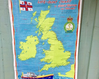 Vintage Collectable Tea Towel - Life Boat Chart Britain and Ireland.