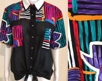 Super bright 80s floral and stripe blouse with contrast collar size 8 / 10