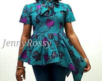 Ankara peplum high low hem top African top African clothing top African women clothing