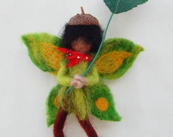 Fairy Leaf boy Mobile or Dolls house figure with leaf kite and acorn shell hat Needle felted Waldorf style OOAK