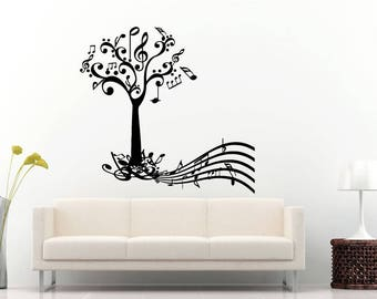 Music Tree Notes Nature Treble Clef Wall Sticker Decal Vinyl Mural Decor Art L2293