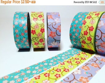 30% OFF ENTIRE STORE Cherry Blossom, Washi Tape, Blue, Sage Green, Periwinkle