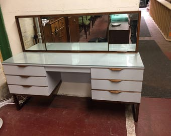 Teak effect refurbished dressing table with triple mirrors in pavillion gray