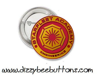 "Star Trek - Starfleet Academy of Engineering - 1.25"" or 1.5"" - Pinback button - Badge - Magnet - Keychain - Trekkies - Gift - Space"