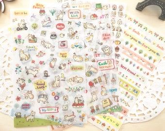 Cute Korean Cat Diary /DIY/  Scrapbooking Stickers, 6 Sheets
