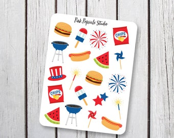 4th of July BBQ Planner Stickers Designed for Erin Condren Vertical Life Planner