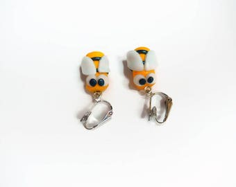 polymer clay bee clip earrings