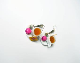 Teacup earrings polymer clay