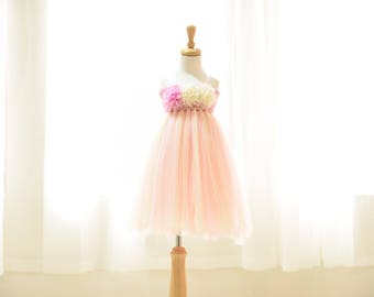 Tulle Girl dress wedding bridal recital children pink white