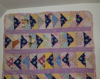 Old Hand Stitched Cotton Scrap Doll Quilt