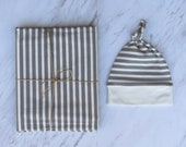 Swaddle set Gift for baby boy Gray stripe newborn swaddle set Gender neutral blanket Stretchy swaddler Gray and cream stripes